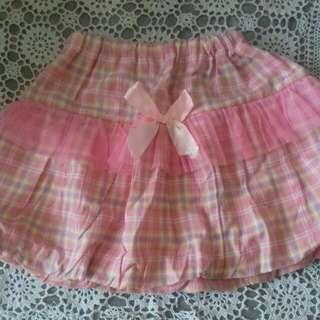 Rok Balon Tartan Pink (Baju Anak)