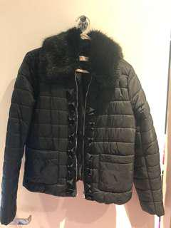 Puffer Jacket with Adjustable Collar Fur