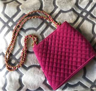 LORD & TAYLOR Fuschia Pink Quilted crossover/shoulder bag