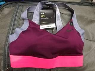 Nike Maroon and Pink Light Support Sports Bra XS
