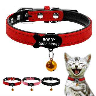 Customized Engraving Pet ID Pendant Black Fish Tag Collar For Kitten & Cats