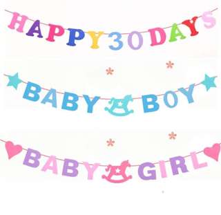 (19/7) Free normal mail - baby boy / baby girl alphabet hanging banner (full month/ baby shower / Happy 30 days)