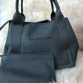 Balenciaga Cabas S leather Tote with a Small Pouch in Grey