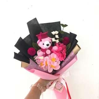 Buket bunga flanel (buket boneka)