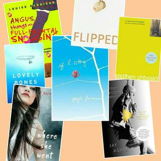 Ebook BUNDLE! 13 Reasons Why If I Stay Gayle Forman Angus Thongs Perks of being a wildflower Flipped The lovely bones