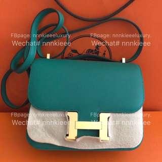 購自歐洲100% Authentic & Brand New Mini Constance Vert Vertigo Evercolor GHW Stamp C