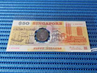 1990 Singapore 25 Years of Independence $50 Commemorative Banknote A 334920 with Folder