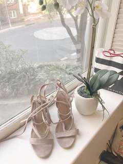 Pink tie-up heels