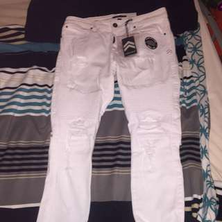 Men's White Ripped Jeans