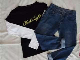 BUNDLE: Pants and Converse top