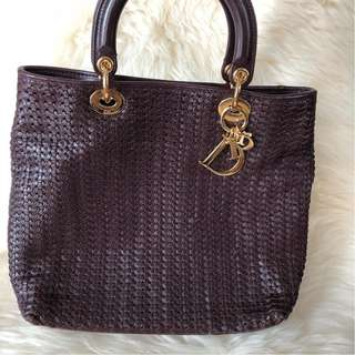 Christian Dior Burgundy Woven Leather Lady Dior with GHW