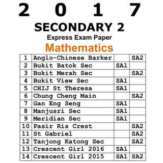2017 Sec 2 Math exam paper / express school /  Secondary 2 / Sec 2 / Mathematics / E-Math / EMath / Maths / Math / exam paper / test paper / past year papers / Top School Paper / 4048