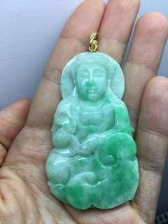 天然翡翠佛像吊墜,750k金jade Buddha 吊咀,百分百A玉,禮佛信佛人士生日禮物首選, 不是六福、周大福