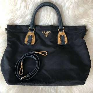 Prada BN1902 Tessuto Nylon in Black with Strap