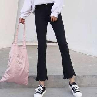 [oppnishop]有分尺寸 瘦瘦刷破小喇叭褲