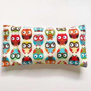 Bean Sprout Husk Pillow / Beanie Pillow , Fabric from USA ( 100% Handmade 100% Cotton , Premium Quality!) 15 x 30cm husks 150grams owl