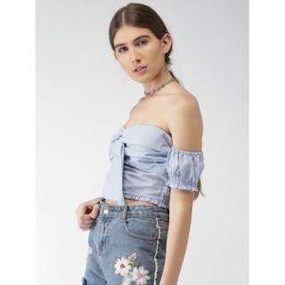 Forever 21 Baby Blue Bardot Croptop (Tiefront)