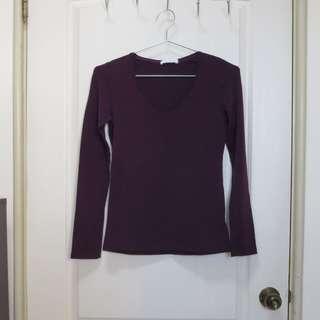 🚚 PAZZO 深紫色內刷毛長袖上衣