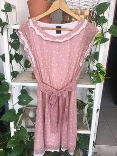 Pink Polka Dot Chiffon Dress