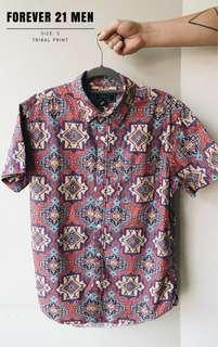 21Men Patterned Short Sleeve Shirt - Loose Fit