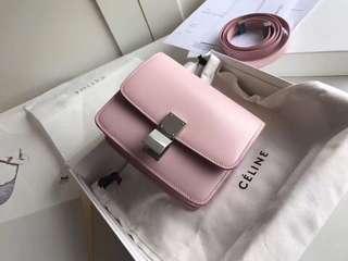 Celine(賽琳)Box復古 16CM 粉色 銀扣