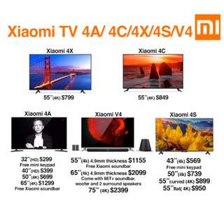 """TV Xiaomi Android TV 4A/4C/4X/4S/V4 32""""-75"""" Build in Mitv Box (Ready Stock)"""