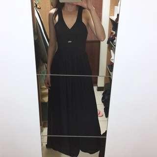 🚚 澳洲品牌 後交叉縮腰落地雪紡連身長洋裝禮服