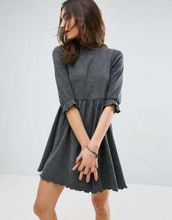 ASOS GREY SMOCK DRESS