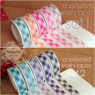 Checkered Washi Tapes (5 rolls in 1 set)