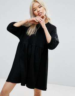 ASOS BLACK SMOCK DRESS