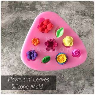 💐 FLOWERS n' LEAVES SILICONE MOLD TOOL  for Pastry • Chocolate • Fondant • Gum Paste • Candy Melts • Jelly • Gummies • Agar Agar • Ice • Resin • Polymer Clay Craft Art • Candle Wax • Soap Mold • Chalk • Crayon Mould •