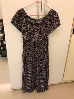🚚 H:Connect 小碎花一字領洋裝