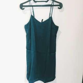 H&M satin green short dress