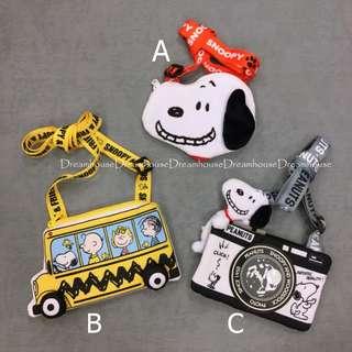 大阪環球影城 史努比 學校巴士 相機 造型 附背帶 拉鍊 零錢包 證件套 卡夾 票卡夾