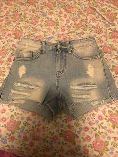韓國女裝淺藍色牛仔短褲