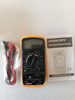 Excel XL830L Digital 3 1/2 LCD Voltmeter Ammeter Ohmmeter Multimeter Black Yellow