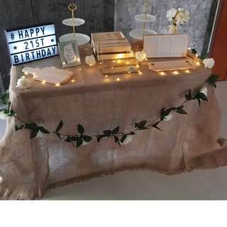 Dessert / Candy Table Props Rental_Mat Burlap Sack Table Cloth_Rustic . Vintage Theme