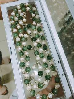 Sabah Freshwater Pearl with green crystal necklace