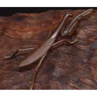 早年收蔵  紫銅鋳  蟷螂  開運置物