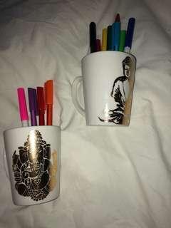 Hamsa mugs - perfect for stationery and makeup storage