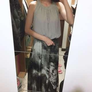 🚚 正韓製 korea 雪紡削肩縮腰水墨潑墨連身長洋裝