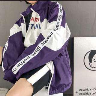韓版休閒運動風字母串標拼接立領外套
