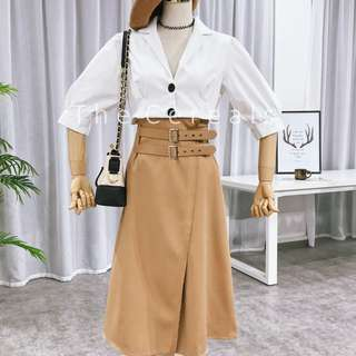 TC2588 Korea 2 Pieces Retro Top + High Waist Belted Skirt (Brown,Navy)