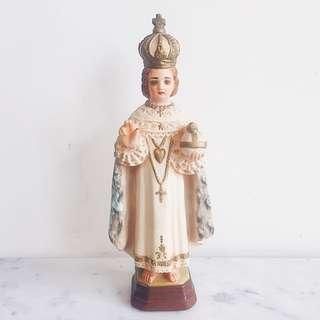 "Vintage Infant Jesus of Prague Chalk Figure Statue - 11.5"""