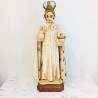 Vintage Infant Jesus of Prague Chalk Figure Statue -17""