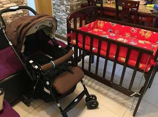 Bundle promo Baby wooden brown crib and babies R US stroller