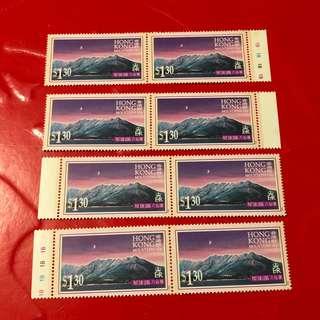 香港郵票-群山兩個4方連