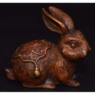 早期愛好收蔵  古銅鋳  兔子 茶寵 置物