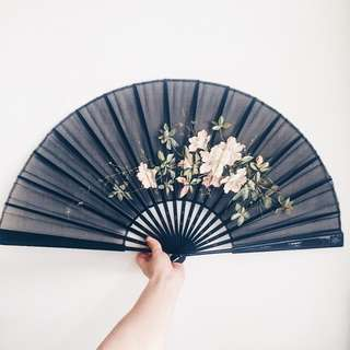Antique Victorian Handpainted Ebonized Fan