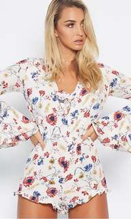 Popcherry Size L(12) White Floral Playsuit